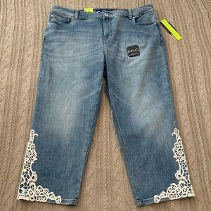 Embellished lace denim crop jeans